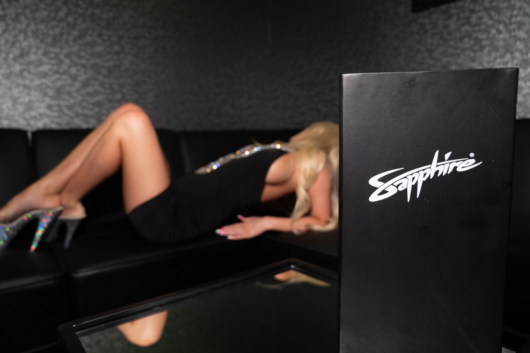 sexy woman in the Sapphire Times Square VIP Room